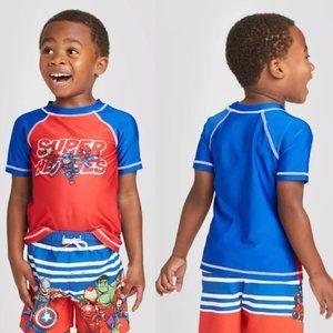 Avengers Superheroes Rash Guard Swim Shirt, 3T